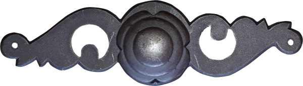 Antiker Mobelgriff mit Rosette, Eisen patiniert und rostfarben gewachst, rustikaler Möbelknopf Bild 2