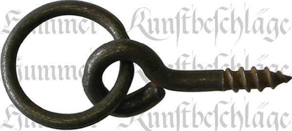 Ring, Eisen gerostet und gewachst, 22 mm, antik, alt. Aus Draht gefertigt.