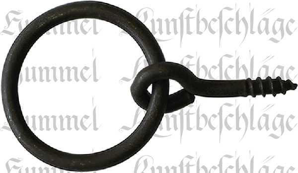 Ring, Eisen gerostet, gewachst, 38 mm, antik, alt. Aus Draht gefertigt.