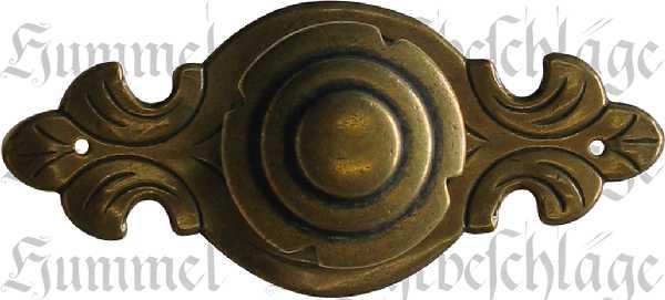 Knopf Ø 33mm, mit Rosette, Messing patiniert, antik Griff, antike Griffe, antikes Aussehen