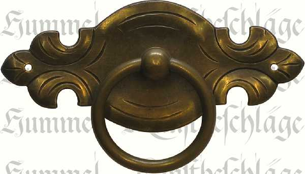 Möbelgriffe rustikale, antike, Ringgriff aus Messing und patiniert, Griff Messing antik