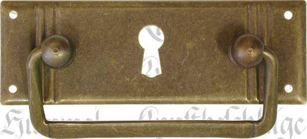 Griffbeschlag mit Schlüsselloch, Messing patiniert, beliebter 3-Rillen Beschlag