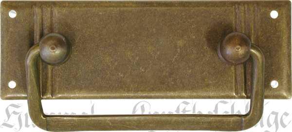 Griffbeschlag ohne Schlüsselloch, Messing patiniert, beliebter antiker 3-Rillen Beschlag