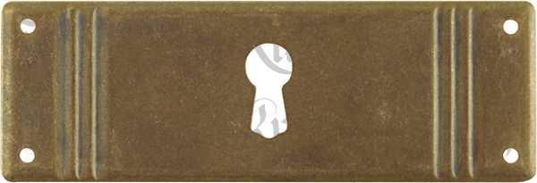 Schlüsselschild, Messing patiniert, beliebter 3-Rillen Beschlag quer