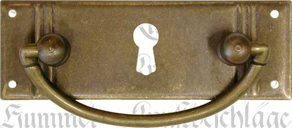 Griffbeschlag mit Schlüsselloch, Messing patiniert, Jugendstil Griffe antik, Schubladengriff Messing alt