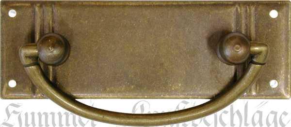 Griffbeschlag ohne Schlüsselloch, Messing patiniert, Jugendstil Griffe antik, Schubladengriff Messing alt, beliebter 3-Rillen Beschlag