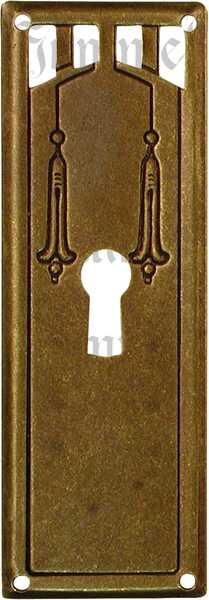 Schlüsselschild, Messing patiniert, Jugendstil Beschläge historisch