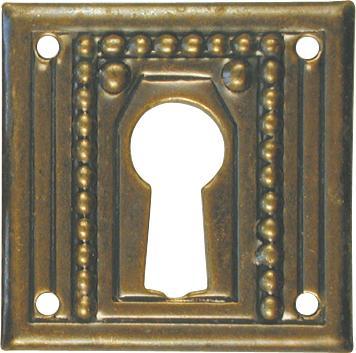 Schlüsselschild, Messing patiniert, Möbelbeschläge Jugendstil, alt