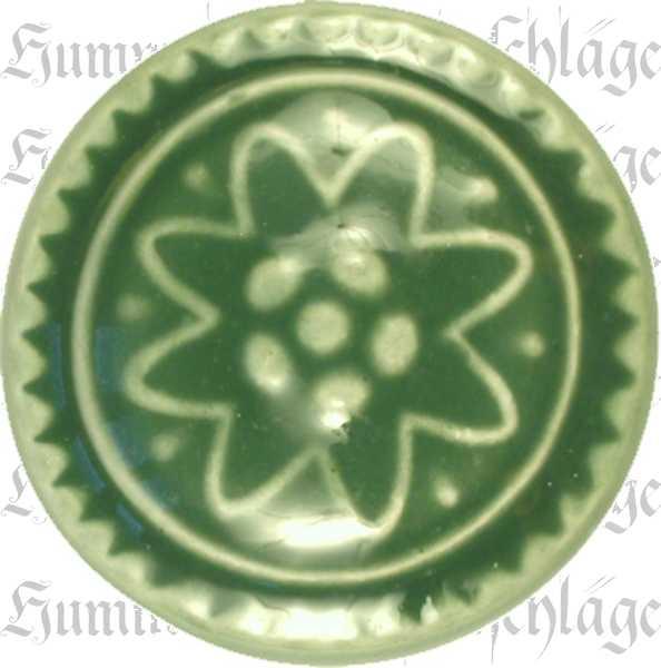 Möbelknöpfe Keramik, Porzellanknopf historisch, Ø 31 mm, grün