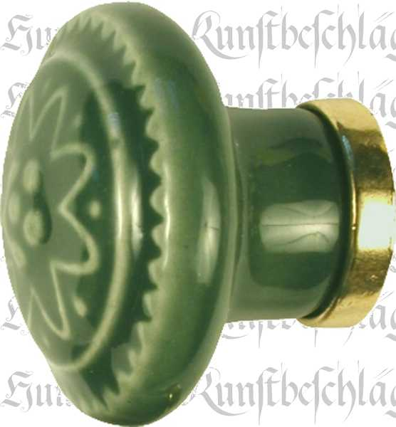 Möbelknöpfe Keramik, Porzellanknopf historisch, Ø 31 mm, grün Bild 2