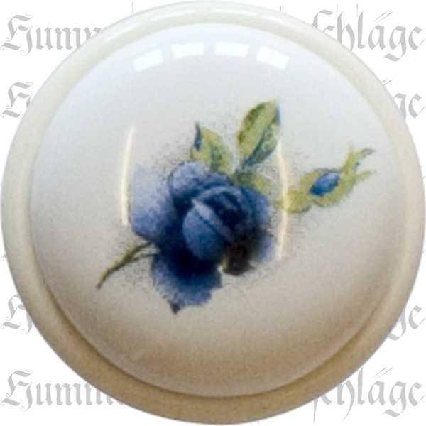 Möbelknopf Porzellan, Porzellanknopf, weiß lackiert, Ø 24 mm, bemalt