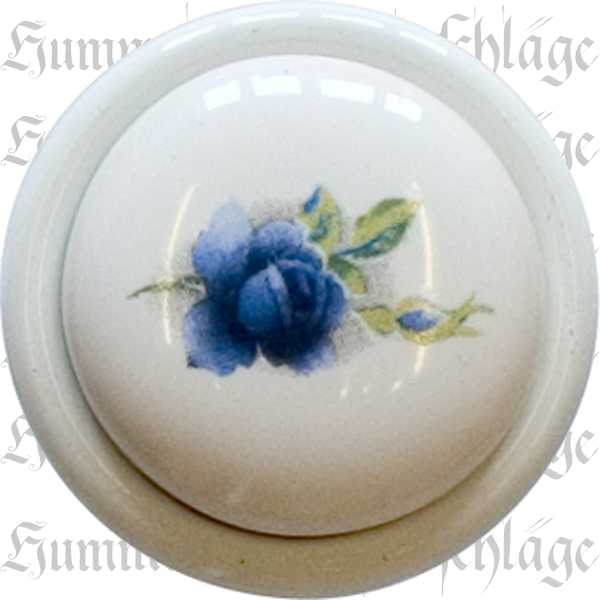 Möbelknopf Porzellan antik, nostalgisch, Porzellanknopf, weiß lackiert, Ø 29 mm, bemalt