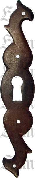 Schlüsselschild, Eisen gerostet und gewachst, antikes Aussehen