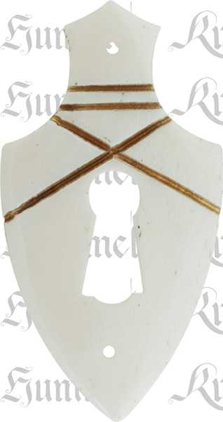 Schlüsselschild, Bein, weiß, Schrankbeschlag antik, alt. Aus Tierknochen bzw. Horn handgefertigt