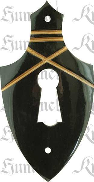 Schlüsselschild, Horn, schwarz, Schrankbeschlag antik, alt. Aus Tierknochen bzw. Horn handgefertigt