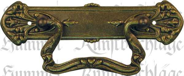 Möbel Griffe antik, Griffbeschlag ohne Schlüsselloch aus Messing patiniert