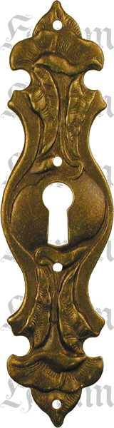 Schlüsselschild, Messing patiniert, schönes Modell des Jugendstil