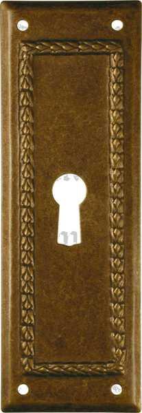 Schlüsselschild, Messing patiniert, Möbelbeschläge Art Deco