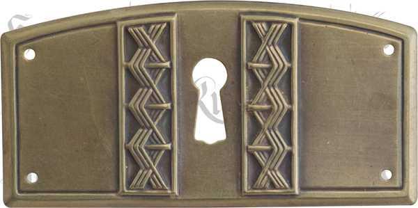 Schlüsselschild antik, Messing patiniert aus dem Jugendstil, Art Deco