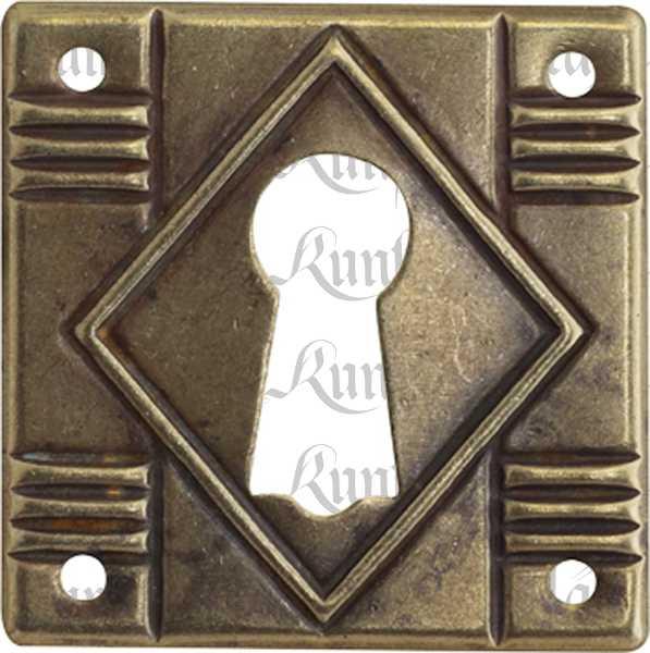 Schlüsselschild klein rechteckig, Messing antik patiniert