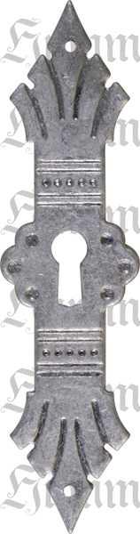 Schlüsselschild antik Jugendstil, altverzinnt