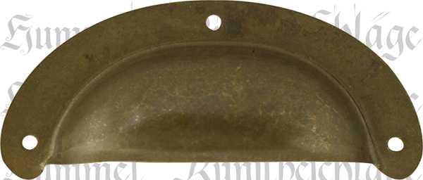 Muschelgriff für Schublade, Messing braun patiniert, alt, antik, Muschelgriffe Küche, Landhausstil, Landhaus, brüniert