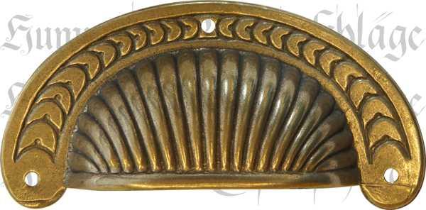 Muschelgriff Messing patiniert alt antik brüniert, Muschelgriffe Küche, im Landhausstil, Landhaus