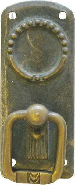 ringgriff aus messing antik patiniert antike alte jugendstil beschl ge f r m bel 1920 6. Black Bedroom Furniture Sets. Home Design Ideas