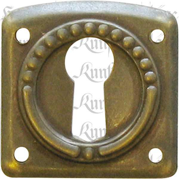 Schlüsselschild klein, antik, Messing patiniert, antike alte Jugendstil Beschläge für Möbel