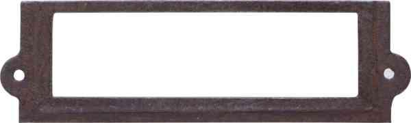 Etikettenrahmen antik, alt, Etiketten Rahmen aus antikem Metall, Eisen gerostet und gewachst