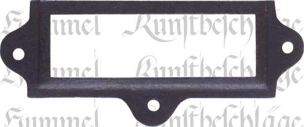 Etikettenrahmen Metall, historisch, Etiketten Rahmen aus Metall, Eisen gerostet dann gewachst