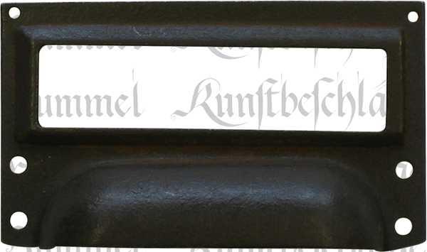 Etikettenrahmen nostalgisch, antiker, alter Etiketten Rahmen aus Eisen gerostet gewachst