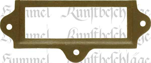 Etiketten Rahmen antik, alt, altvermessingt, Etikettenrahmen Metall mit antiker Optik wie altes Messing