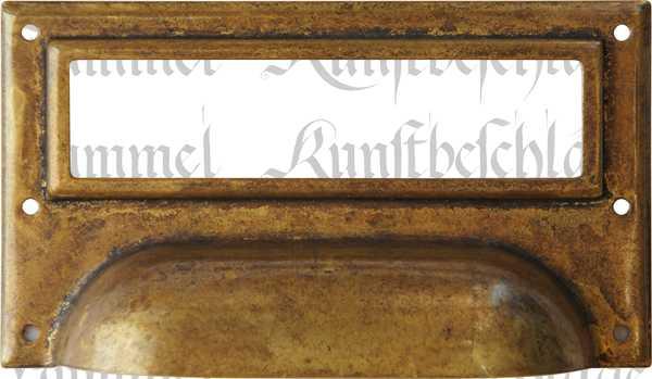 Etiketten Rahmen Messing patiniert, antike, alte Etikettenrahmen Metall, wunderschöne antike Oberfläche