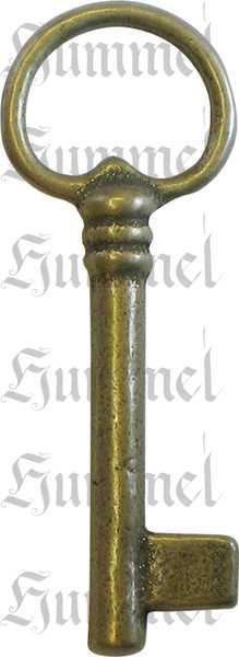 Vitrinenschloss, Messing roh, Dornmaß: 20mm, links, mit Stulpe Bild 2