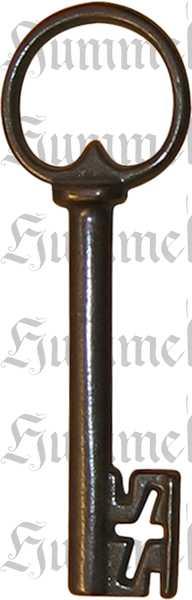 Schloss mit Schlüssel, Dorn 110, links, Eisen gerostet und gewachst, Schrankschlösser antik alt rustikal nostalgisch historisch Bild 2