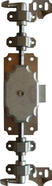 Drehstangenschloss antik für Kleiderschrank und andere Schränke, Stahl, mit Stangen, Schlüssel und Zubehör komplett, Eisen blank, Schlosskasten Zink, Dorn 20mm