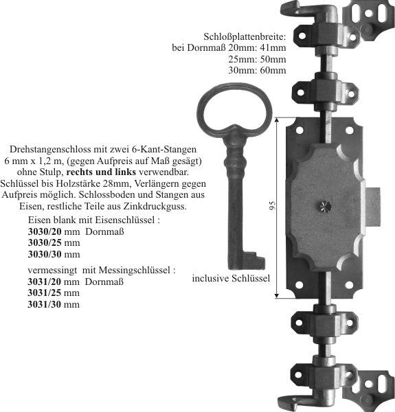 Drehstangenschloss antik für Kleiderschrank und andere Schränke, Stahl, mit Stangen, Schlüssel und Zubehör komplett, Eisen blank, Schlosskasten Zink, Dorn 20mm Bild 3