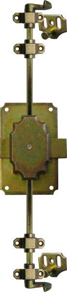 Drehstangenschloss antik für Kleiderschrank, gelb verzinkt, mit Stangen, Schlüssel und Zubehör komplett, Schlosskasten hellvermessingt, Dorn 20mm