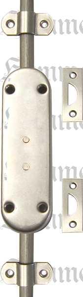 Schubstangenschloss aus Eisen blank, rechts, mit Schlüssel, Stangen und Zubehör