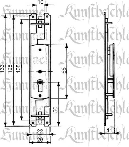Schubstangenschloss antik, zum Einlassen, Eisen blank, rechts, mit Schlüssel, 2 Stangen a 1,2 Meter und Zubehör Bild 3