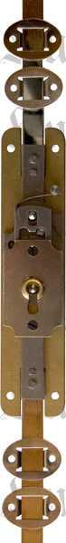 Schubstangenschloss alt, zum Einlassen, Messingschloss mit vernickeltem Zubehör und vernickeltem Schlüssel, Stangen, links Bild 2