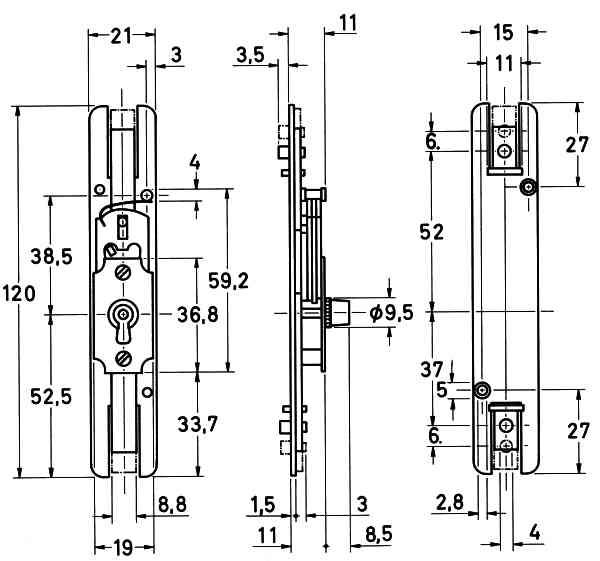Schubstangenschloss alt, zum Einlassen, Messingschloss mit vernickeltem Zubehör und vernickeltem Schlüssel, Stangen, links Bild 3