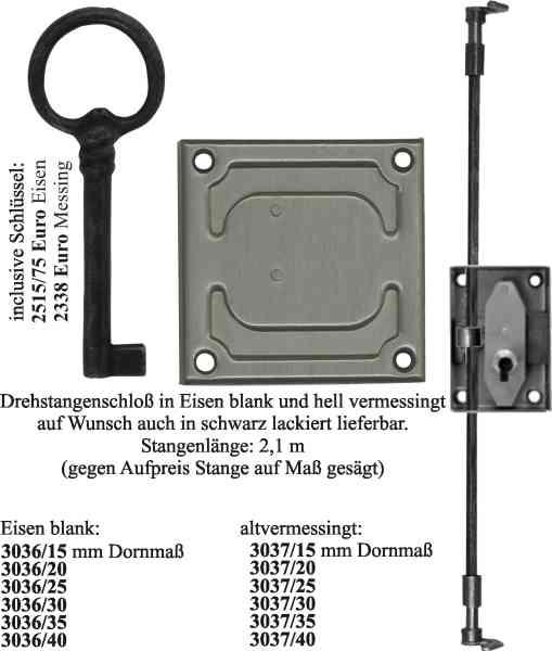 Drehstangenschloss Stahl blank, mit Stangen, Zubehör und Schlüssel komplett, Dorn 35mm, links