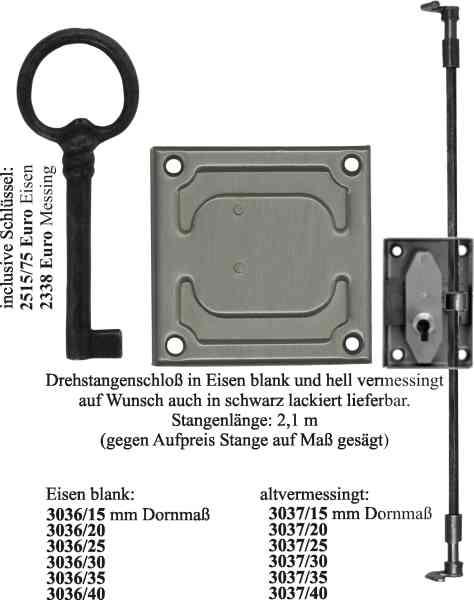 Drehstangenschloss Messing patiniert, mit Stangen, Zubehör und Schlüssel komplett, Dorn 30mm rechts