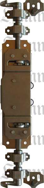 Drehstangenschloss für Schränke wie Kleiderschrank, Eisen blank, mit Stangen, Zubehör und Schlüssel komplett, Dorn 20mm