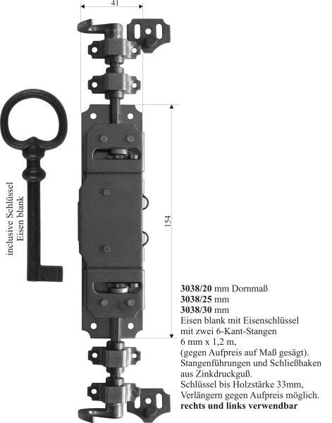 Drehstangenschloss für Schränke wie Kleiderschrank, Eisen blank, mit Stangen, Zubehör und Schlüssel komplett, Dorn 20mm Bild 3
