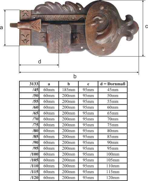 Schloss mit Schlüssel, Dorn 110, links, Eisen gerostet und gewachst, Schrankschlösser antik alt rustikal nostalgisch historisch Bild 3