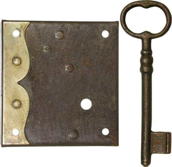 Kastenschloss Eisen Antik Mit Altem Schlussel Dorn 60mm Links
