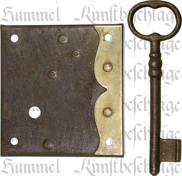 Kastenschloss, Eisen antik, mit antikem Schlüssel, Dorn 110mm rechts, Kastenschlösser alt, historisch, für Möbel mit Schubladen wie Kommode und Schrank Beschläge
